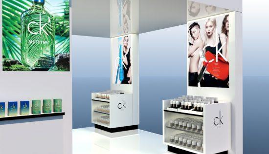 Alexandra Proaño 3d, renders, proyectos comerciales, retail, corner, shop in shop, Calvin Klein, SketchUp, Vray